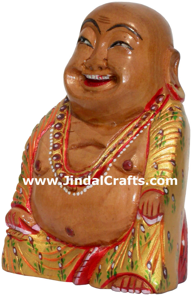 Hand Carved Wooden Painted Laughing Buddha Figure India