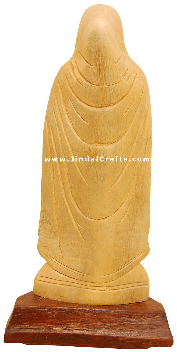 Handcrafted Wooden Mother Marry Christian Sculpture Art