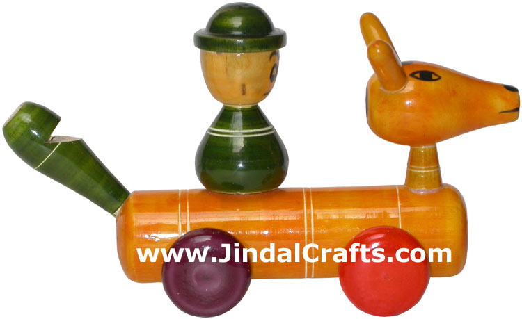 Whistle Vehicle - Handmade Wooden Toy from India