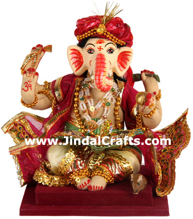 Lord Ganesha Handmade Traditional Costume Doll India Vinayaka Statues Idol Arts