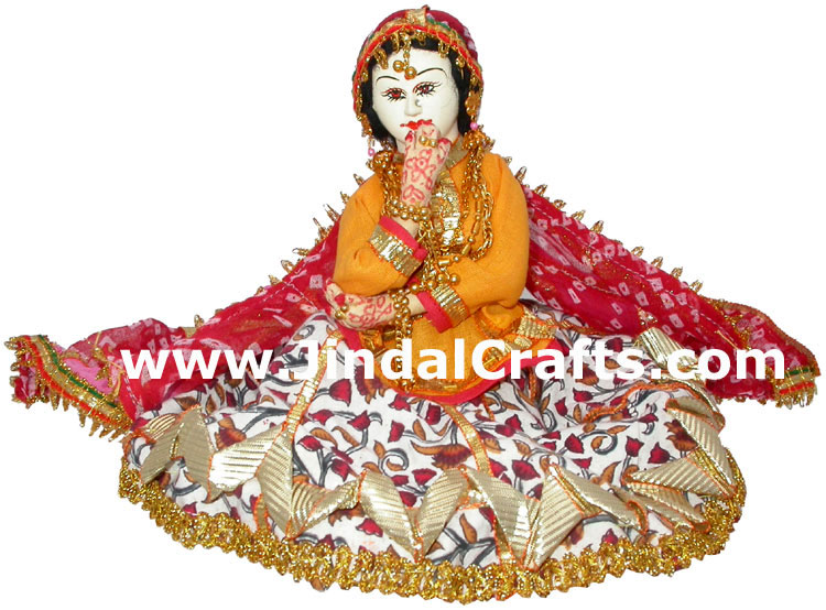 Handmade Traditional Indian Bridal Collectible Costume Doll Princess Barbie Art