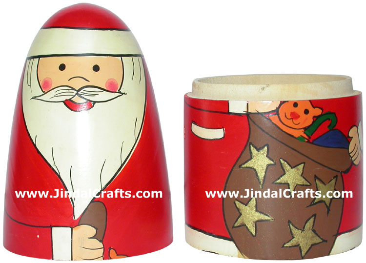 Santa Claus Nested Dolls - Handmade Wooden Stacking Art