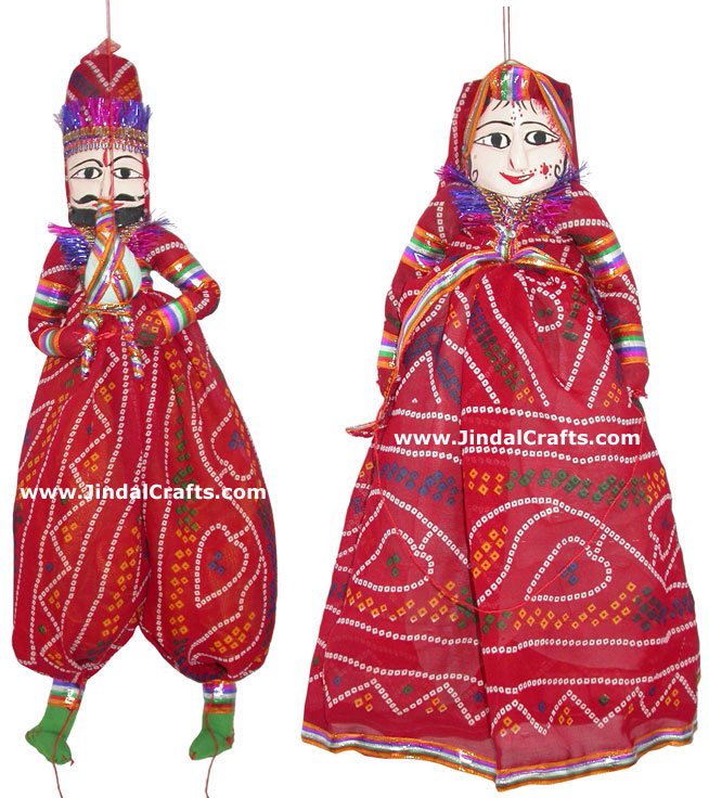Decorative Wooden String Puppet Pair India Handmade Folk Crafts Traditional Arts