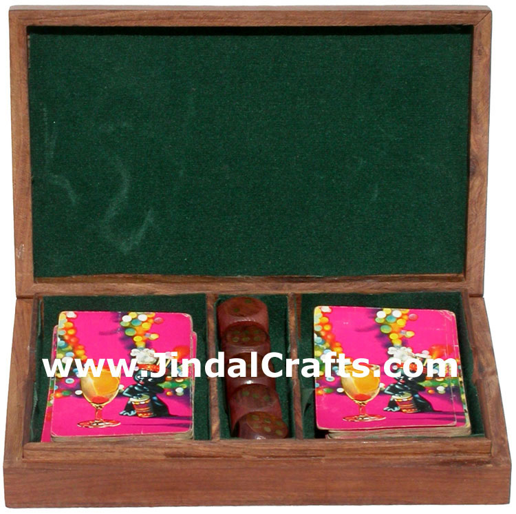 Cards and Dices Handmade Wooden Traditional Game India