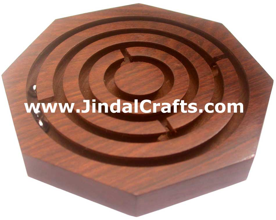 LABYRINTH HANDMADE WOODEN TRADITIONAL LABYRINT GAME TOY INDIA HANDICRAFT LEISURE